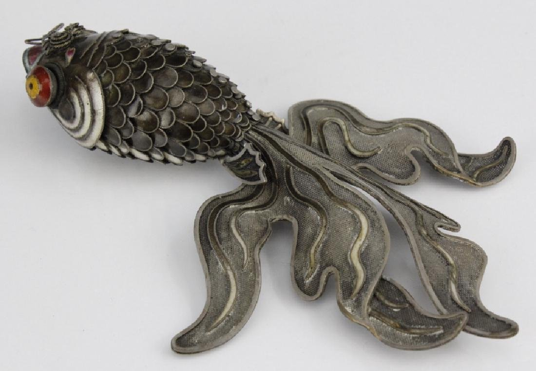 Chinese Silver Enamel Articulated Large Koi Fish - 5