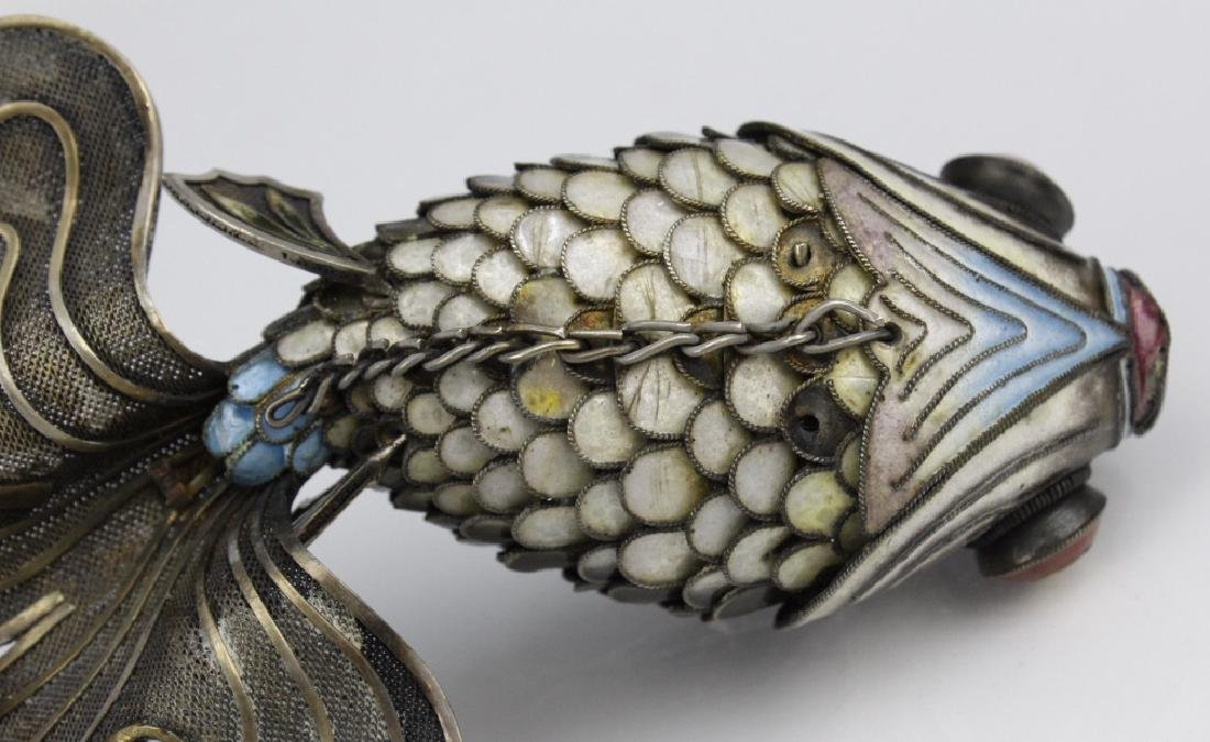 Chinese Silver Enamel Articulated Large Koi Fish - 7