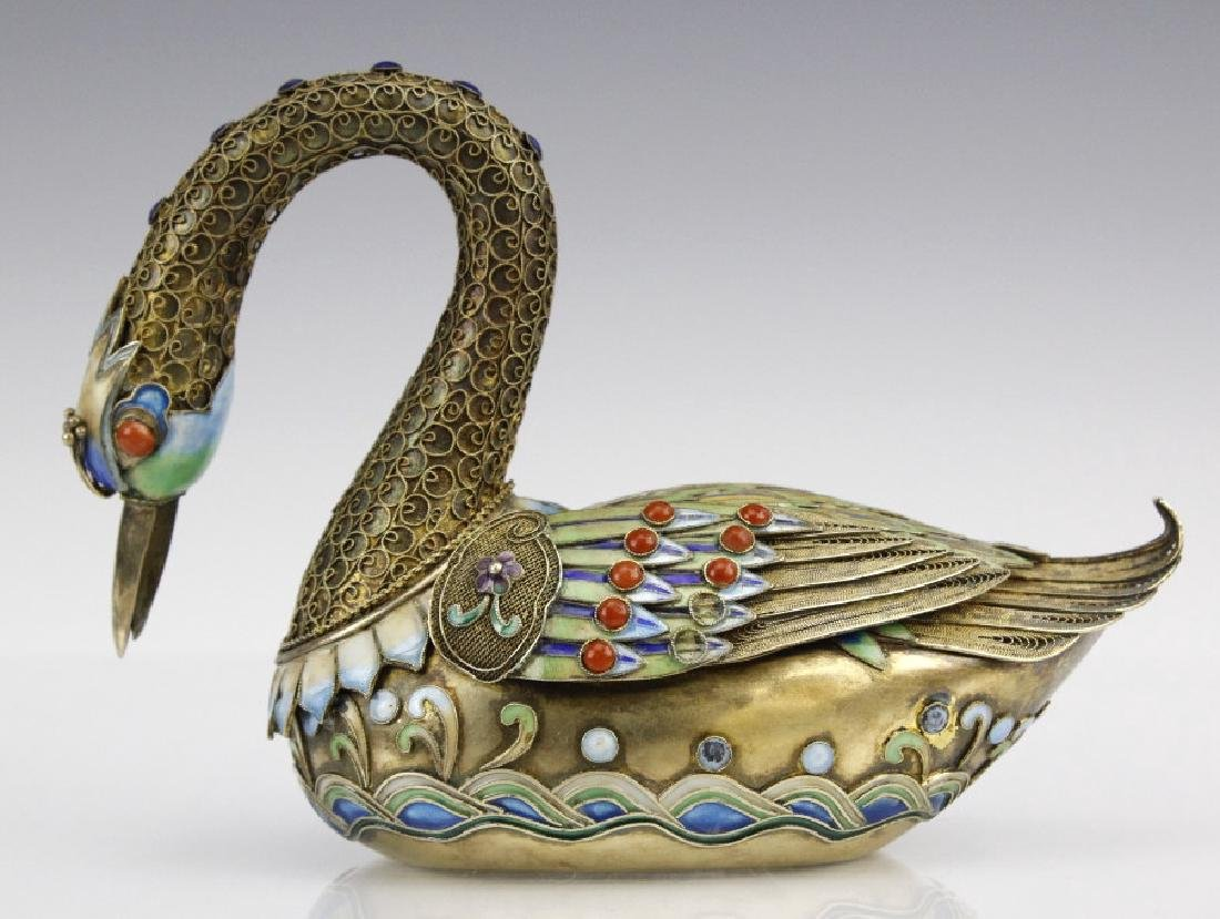 Antique Chinese Silver Enamel Swan Box with Coral - 2