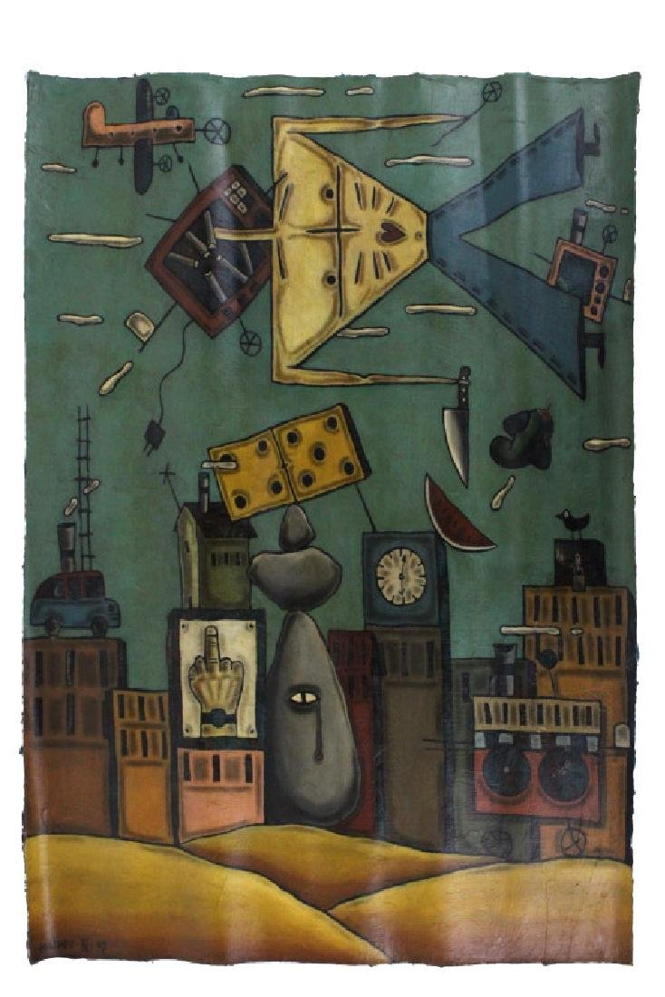 "Leone Matheu Mixed Media Painting 70"" x 55"" BASS MUSEUM"