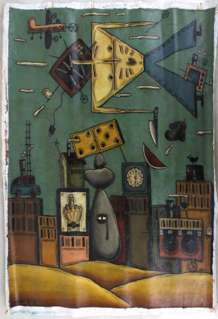 "Leone Matheu Mixed Media Painting 70"" x 55"" BASS MUSEUM - 7"