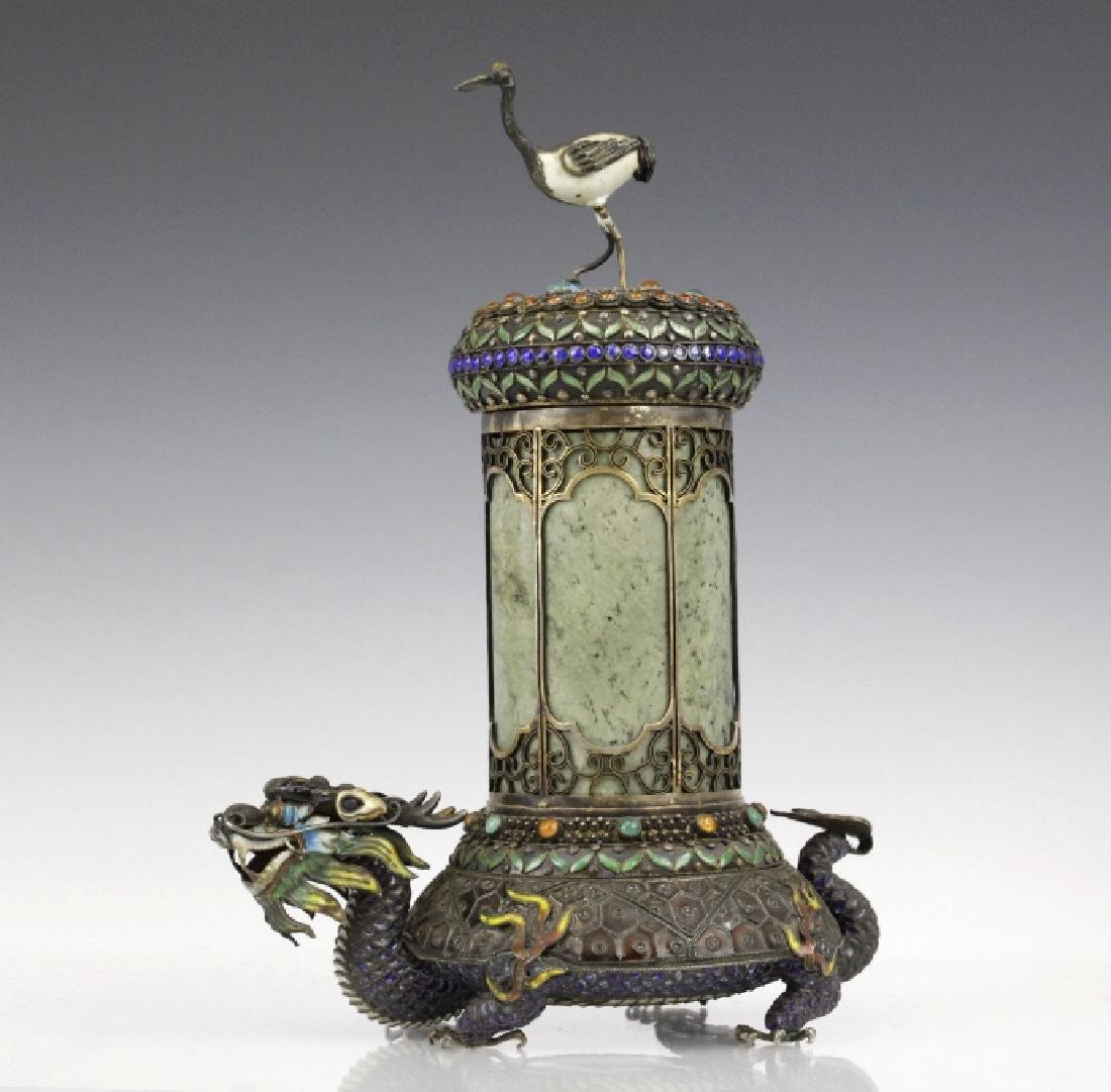 Chinese Silver Enamel Dragon Jade Pillar Box w/ Crane