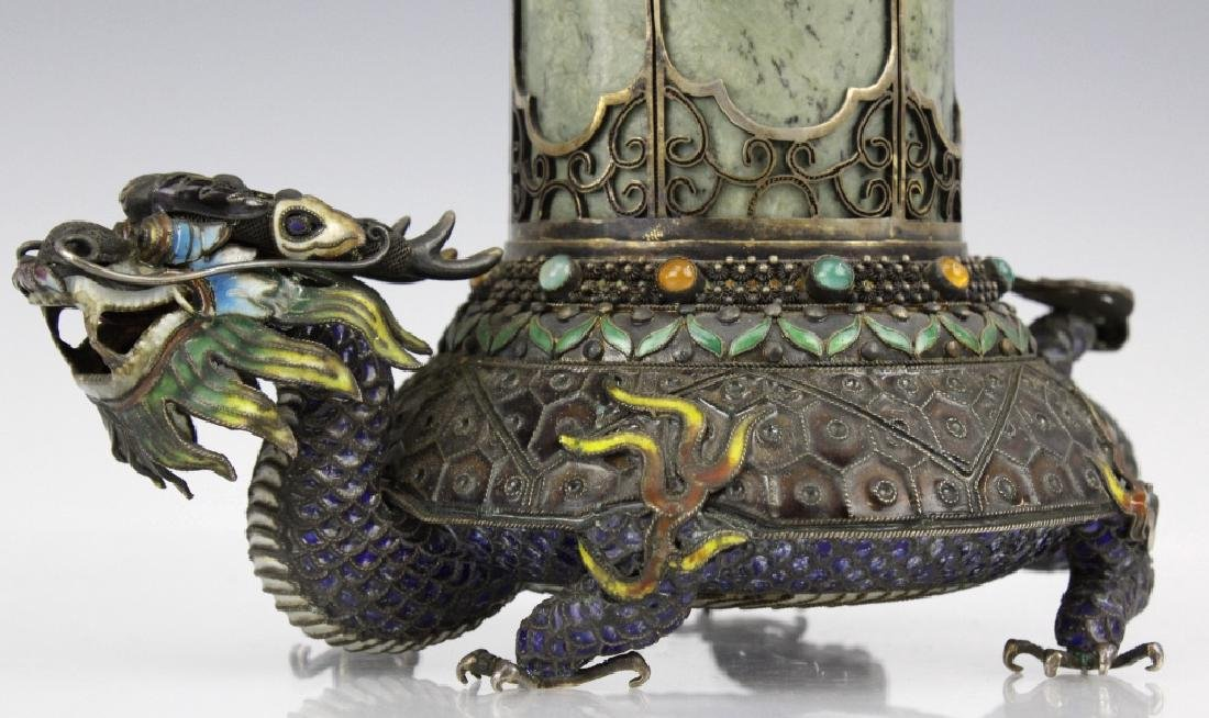 Chinese Silver Enamel Dragon Jade Pillar Box w/ Crane - 2