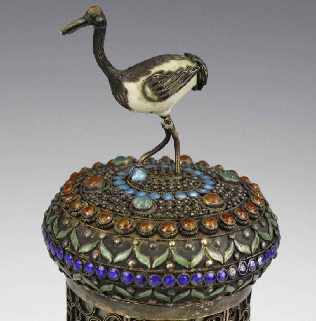 Chinese Silver Enamel Dragon Jade Pillar Box w/ Crane - 3