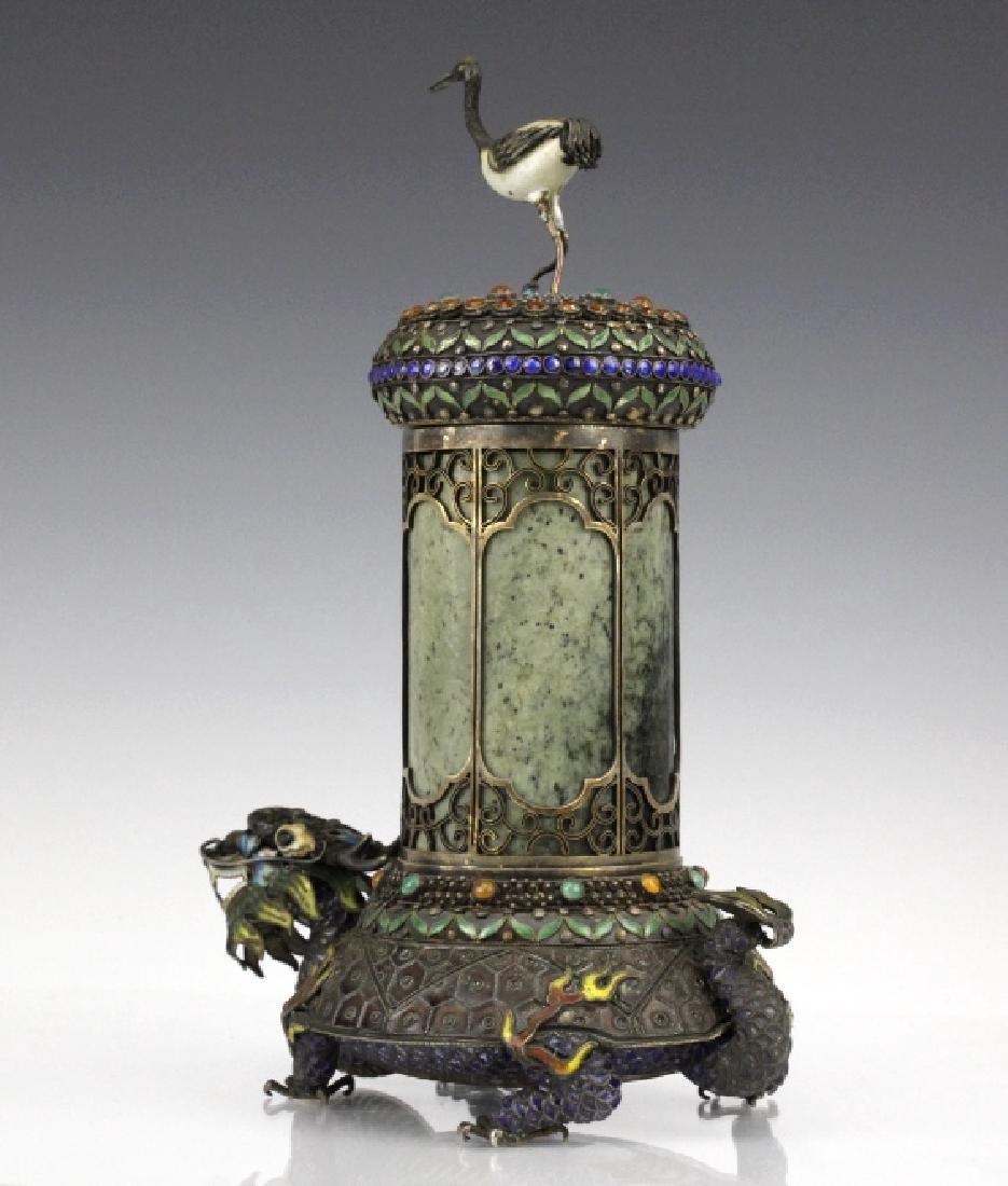 Chinese Silver Enamel Dragon Jade Pillar Box w/ Crane - 4