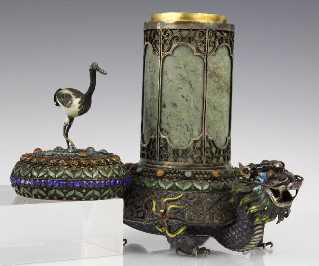 Chinese Silver Enamel Dragon Jade Pillar Box w/ Crane - 5