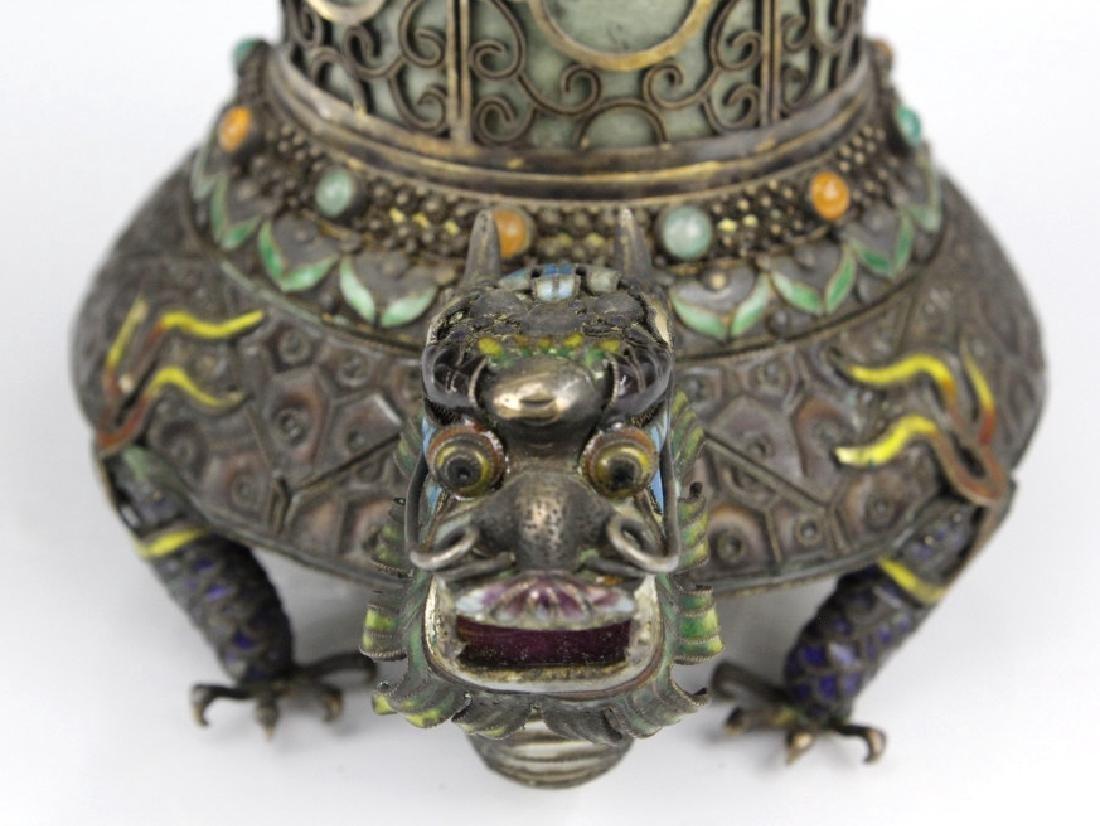 Chinese Silver Enamel Dragon Jade Pillar Box w/ Crane - 6