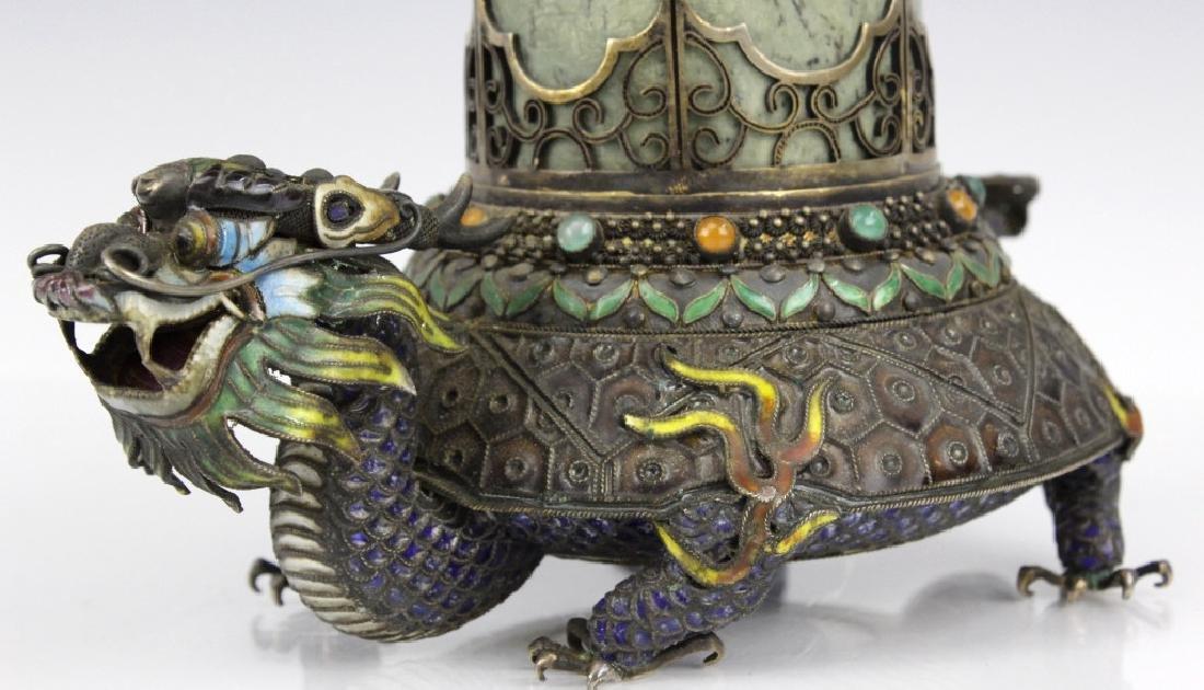 Chinese Silver Enamel Dragon Jade Pillar Box w/ Crane - 7