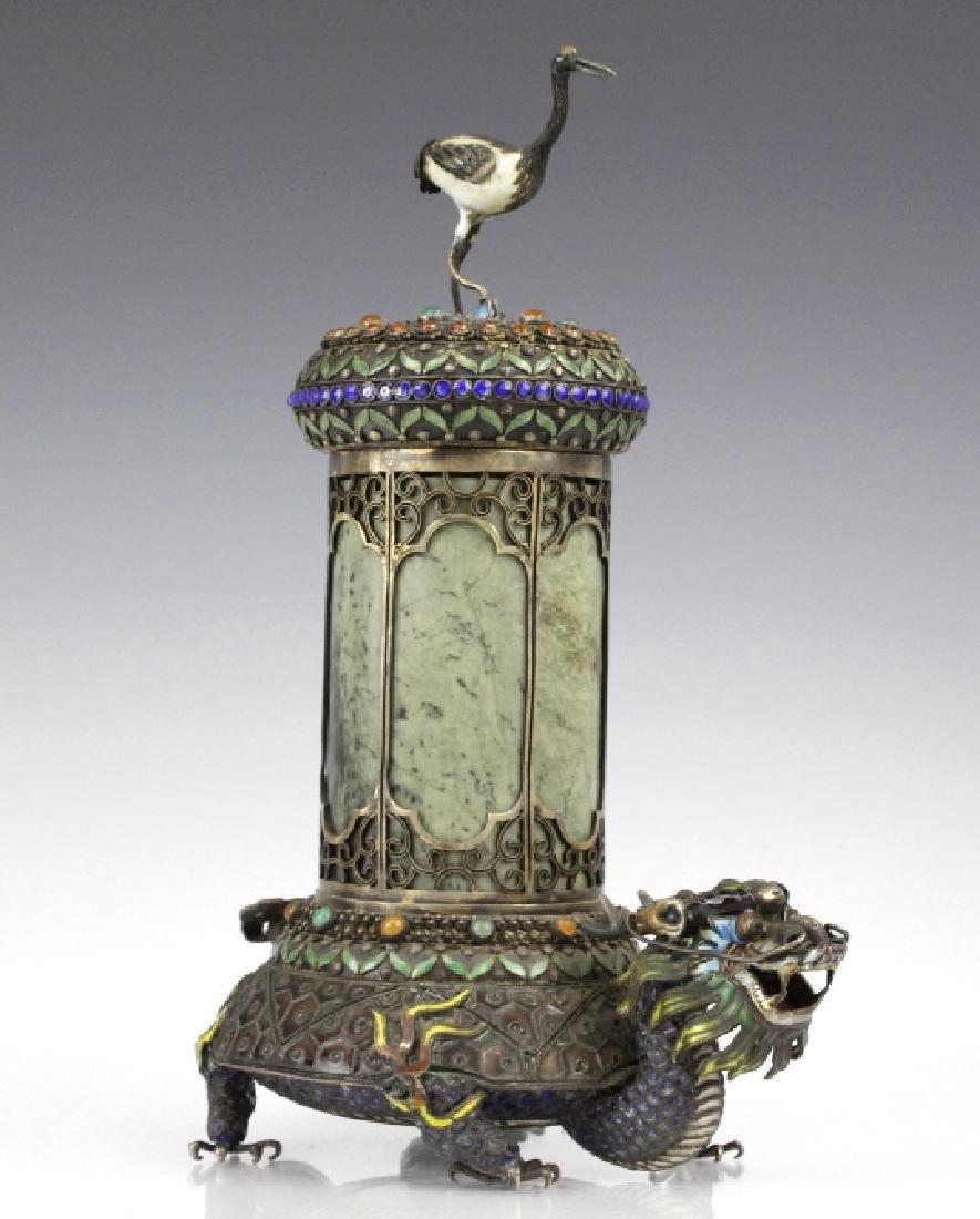 Chinese Silver Enamel Dragon Jade Pillar Box w/ Crane - 8