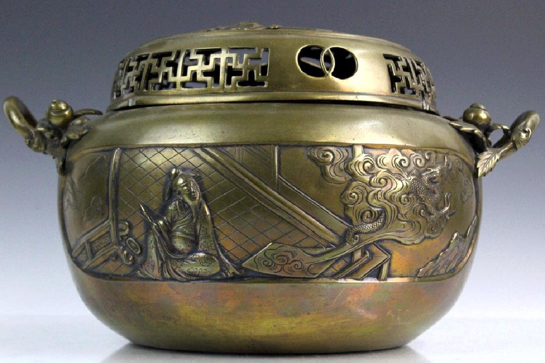 LARGE Ornate Chinese Figural Scenic Cast Brass Censer