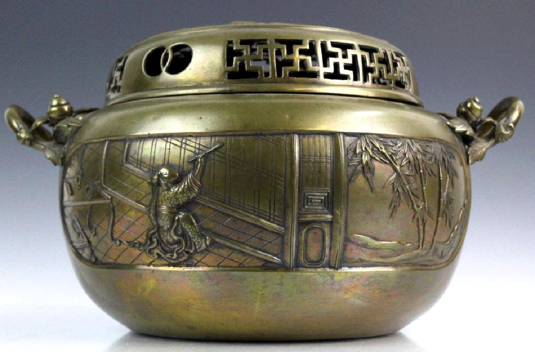 LARGE Ornate Chinese Figural Scenic Cast Brass Censer - 2