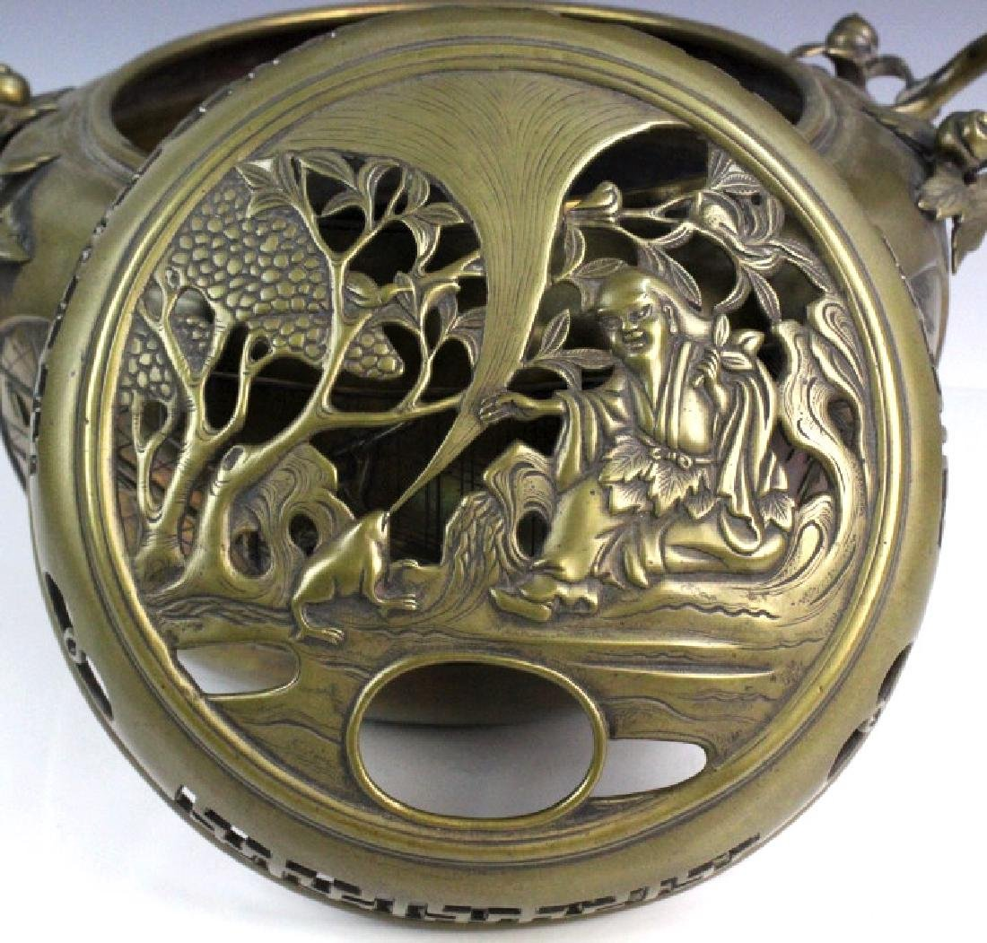 LARGE Ornate Chinese Figural Scenic Cast Brass Censer - 4