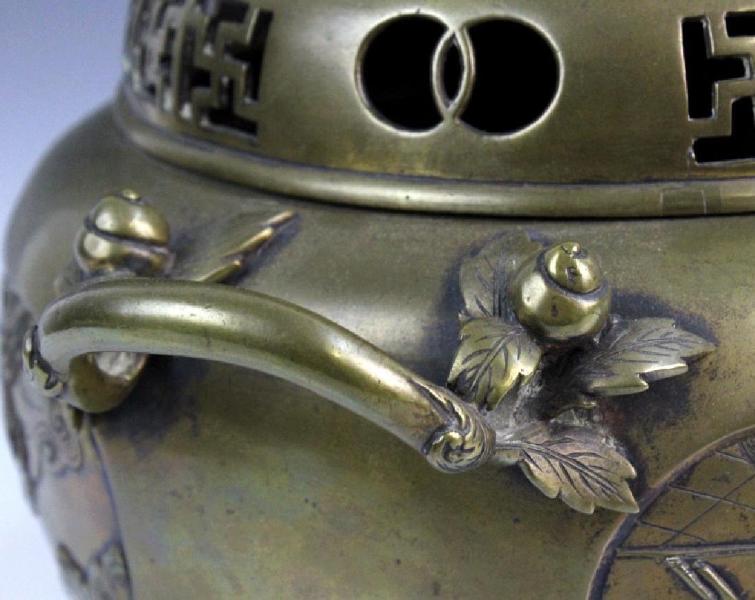 LARGE Ornate Chinese Figural Scenic Cast Brass Censer - 5