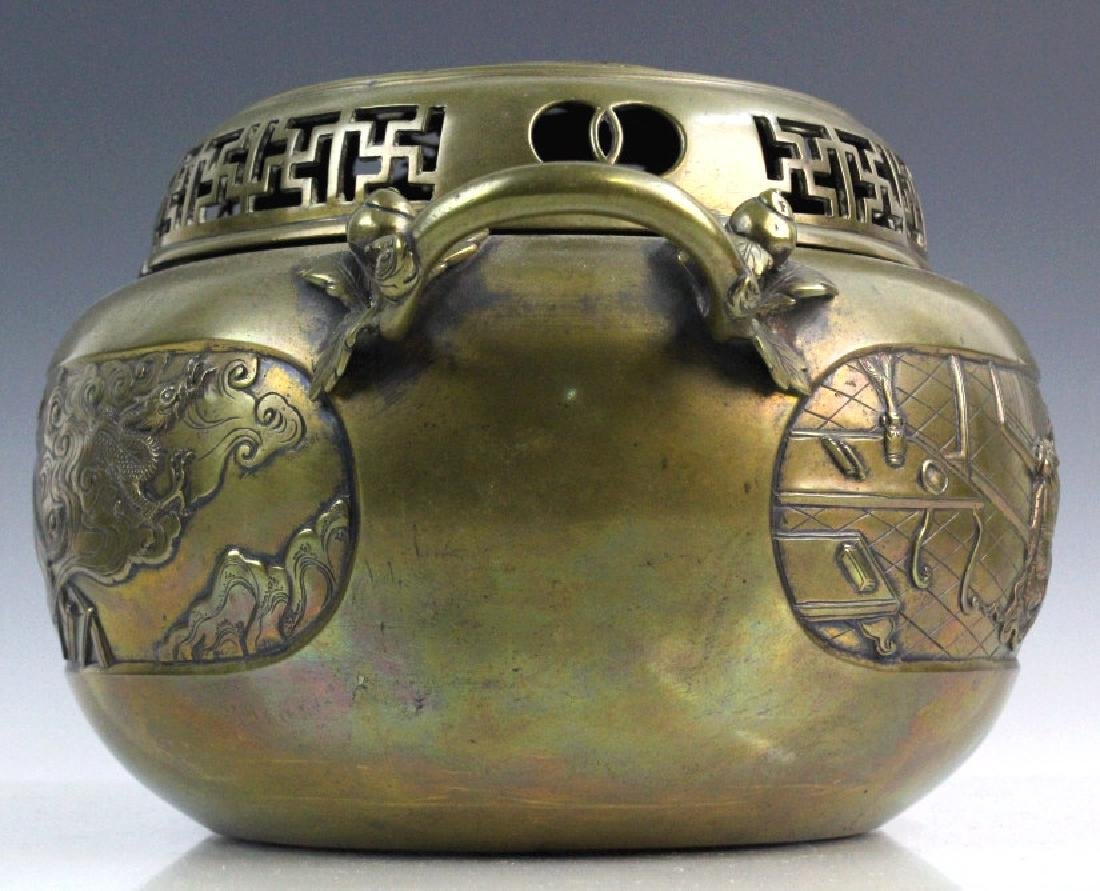 LARGE Ornate Chinese Figural Scenic Cast Brass Censer - 6