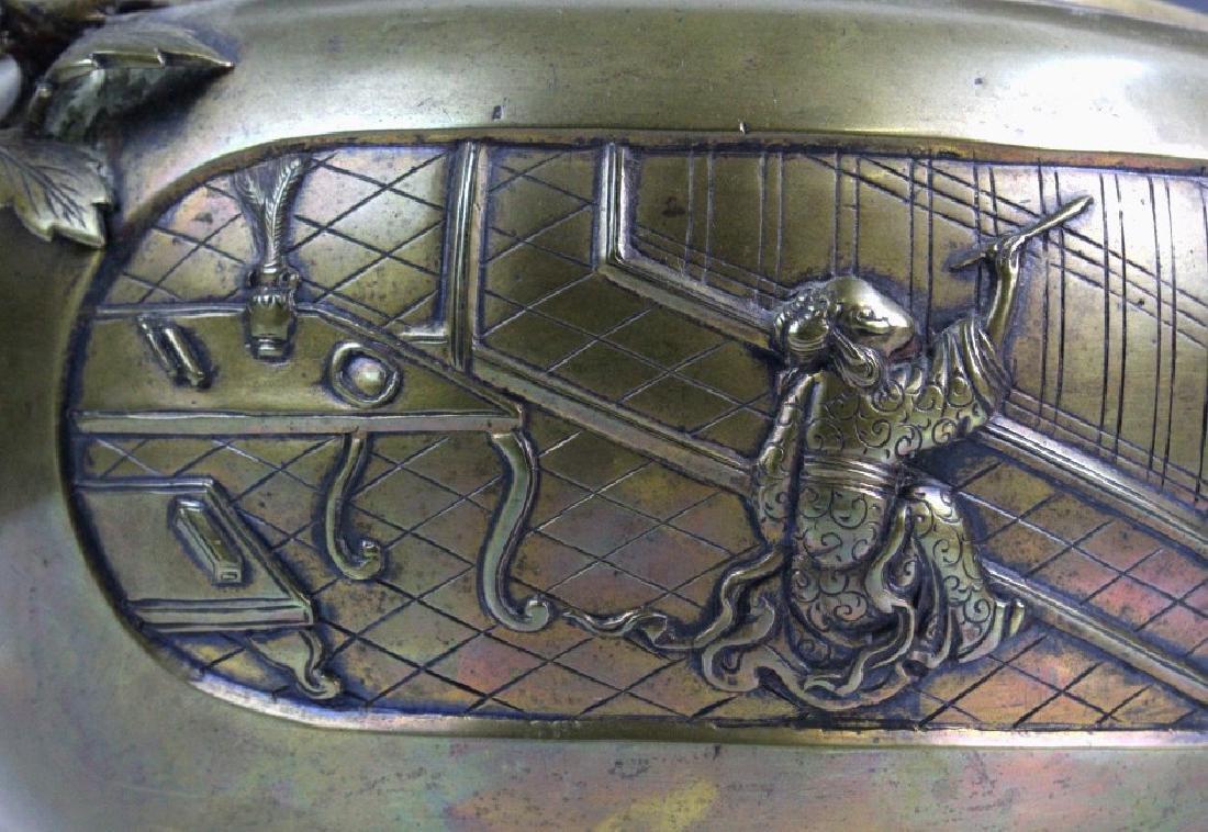 LARGE Ornate Chinese Figural Scenic Cast Brass Censer - 7