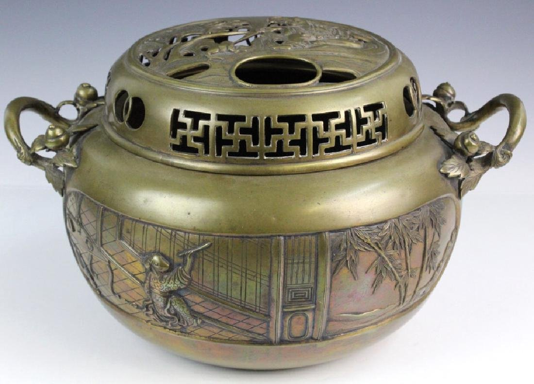LARGE Ornate Chinese Figural Scenic Cast Brass Censer - 8