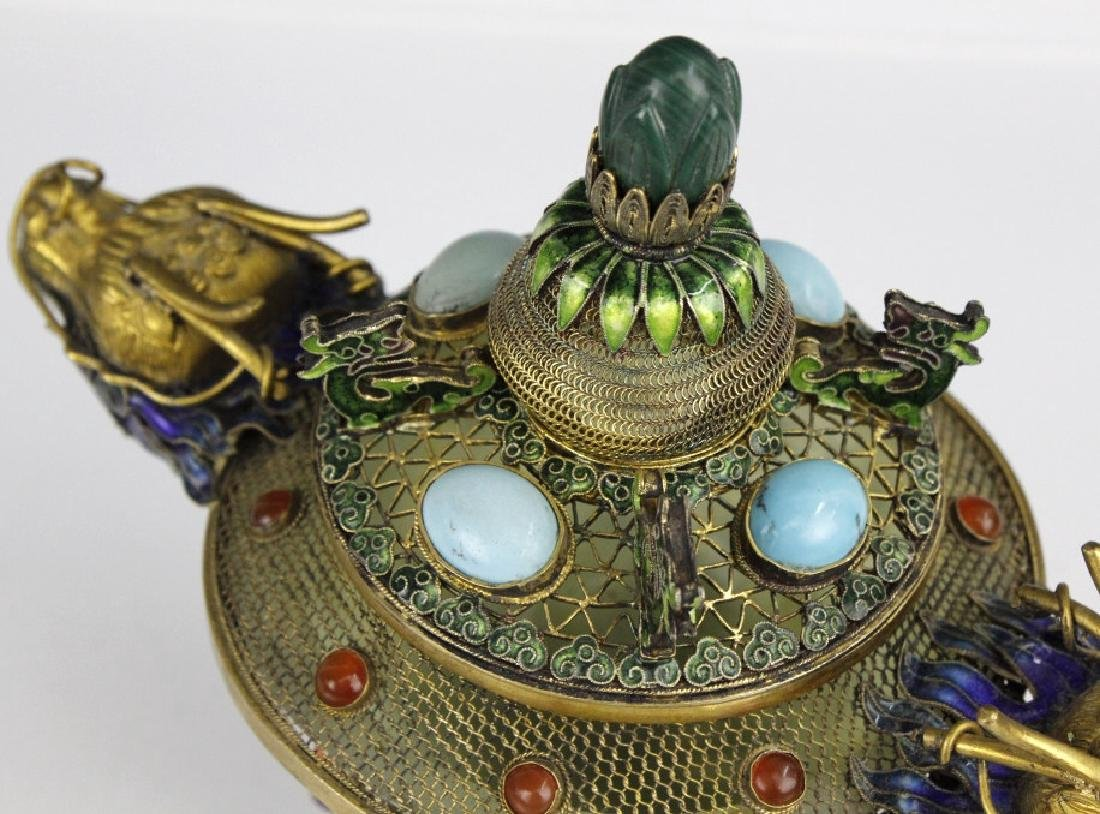Silver Jade Filigree Enamel Double Dragon Censer - 10