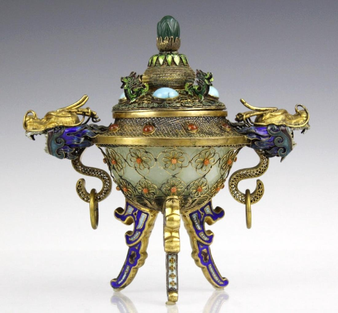 Silver Jade Filigree Enamel Double Dragon Censer