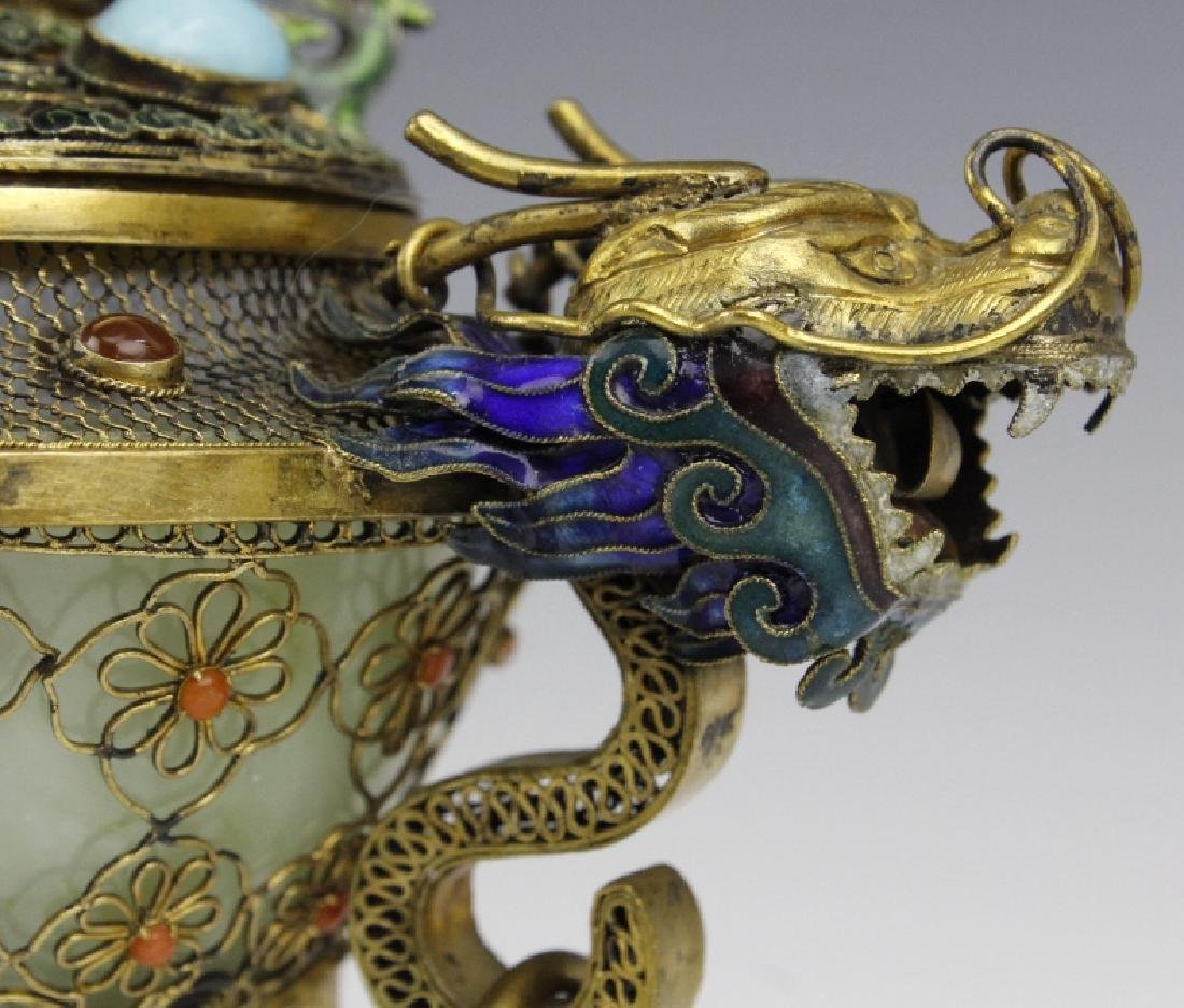 Silver Jade Filigree Enamel Double Dragon Censer - 3