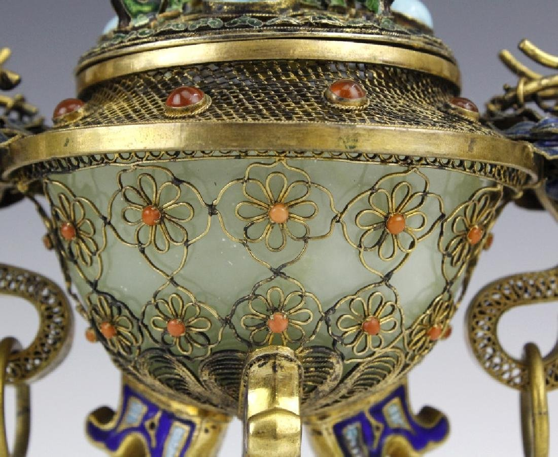 Silver Jade Filigree Enamel Double Dragon Censer - 4