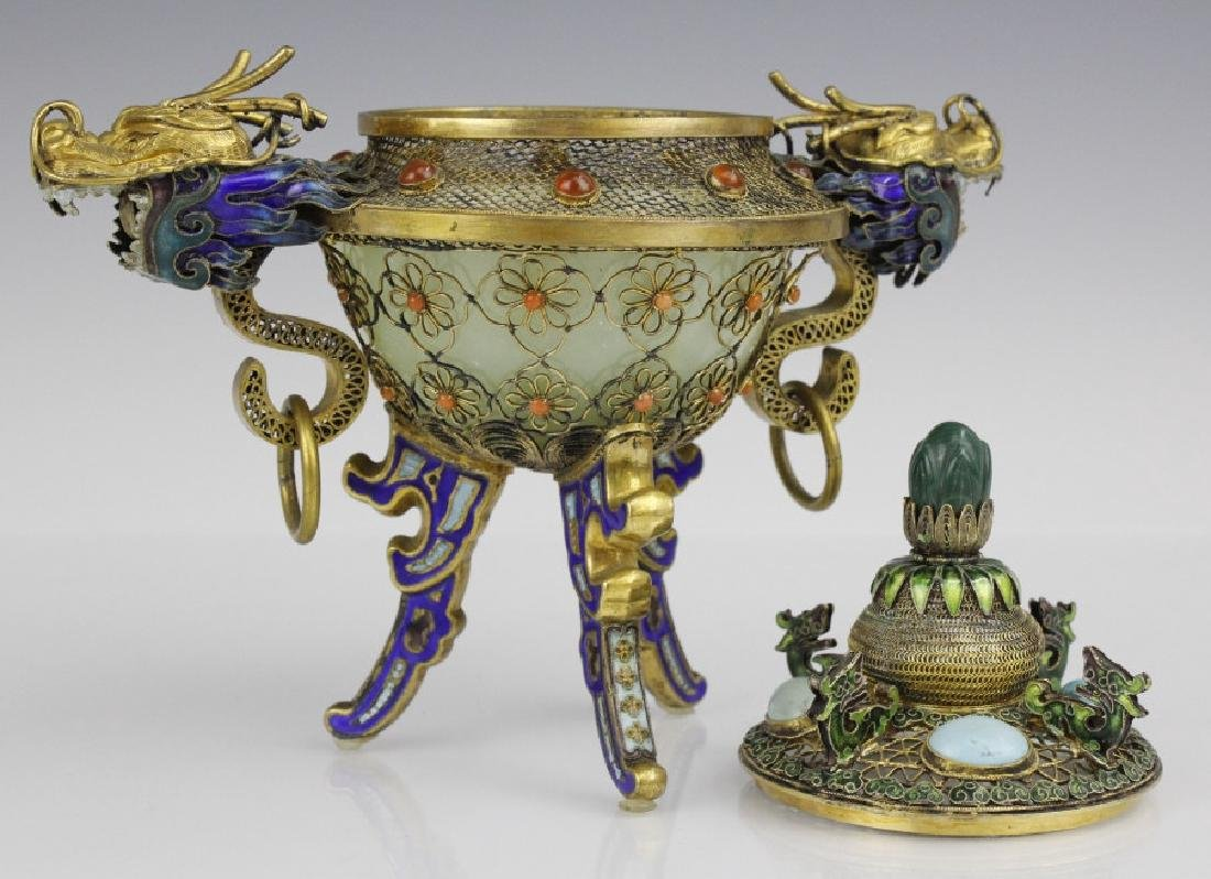 Silver Jade Filigree Enamel Double Dragon Censer - 6