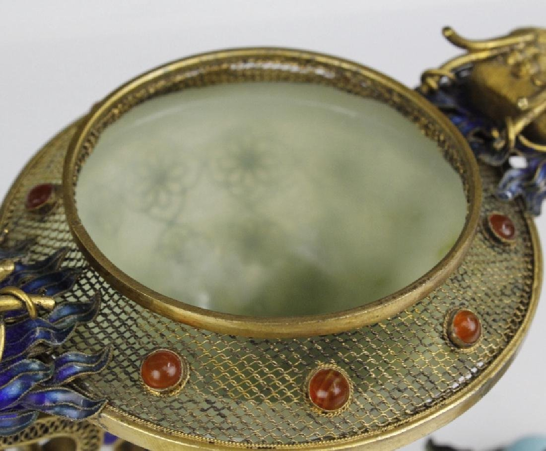 Silver Jade Filigree Enamel Double Dragon Censer - 7