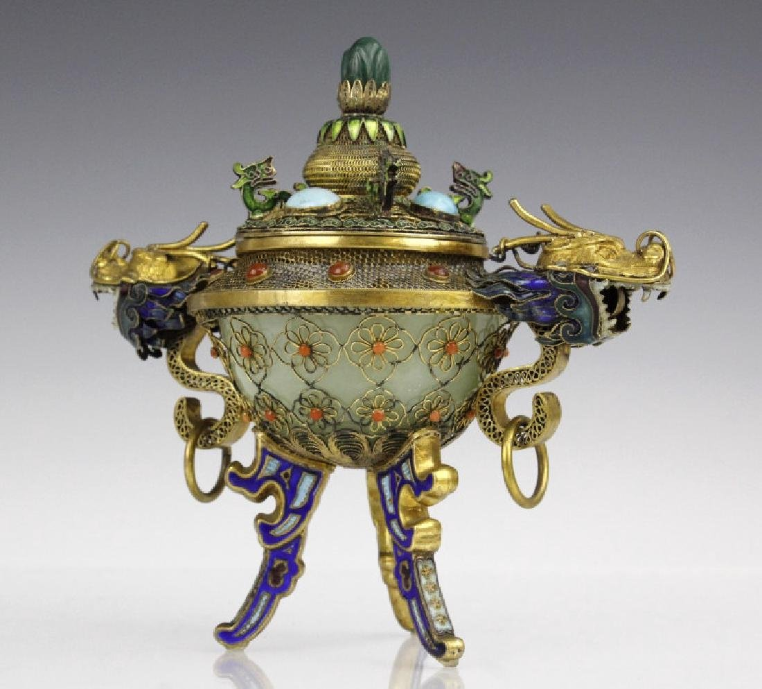 Silver Jade Filigree Enamel Double Dragon Censer - 9