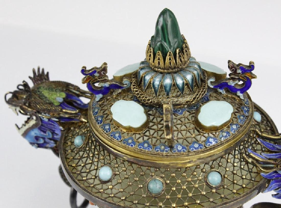 Silver Double Head Enameled Jade Dragon Censor - 2