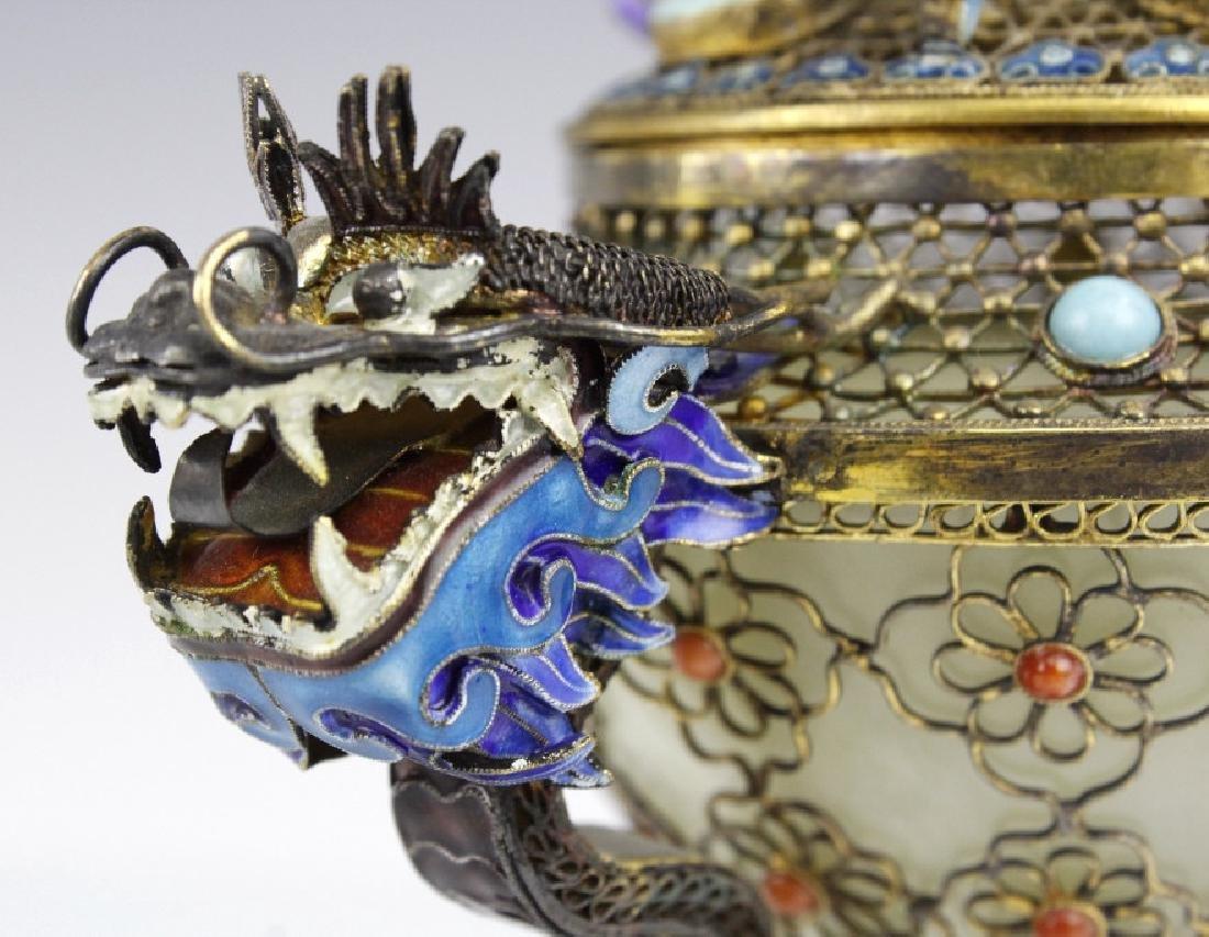 Silver Double Head Enameled Jade Dragon Censor - 7