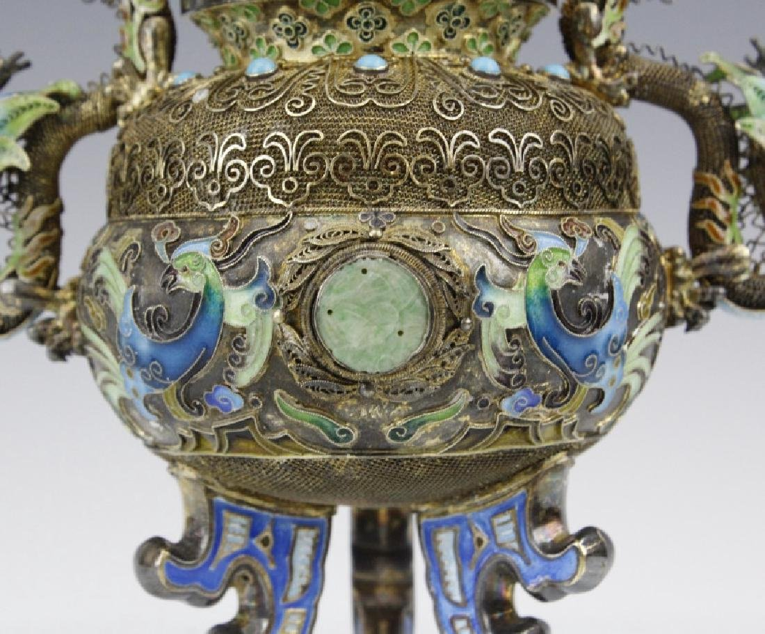 Chinese Silver Double Head Enameled Dragon Censor - 2