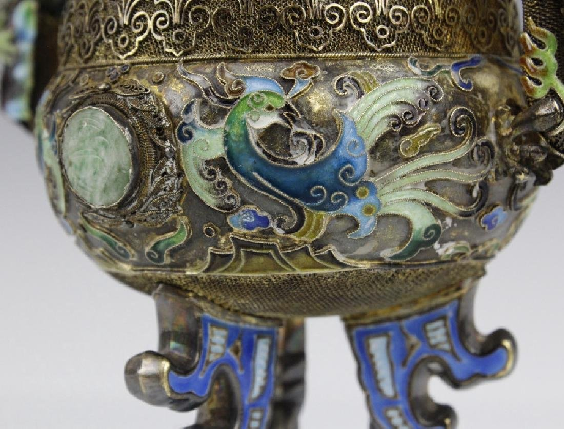 Chinese Silver Double Head Enameled Dragon Censor - 5