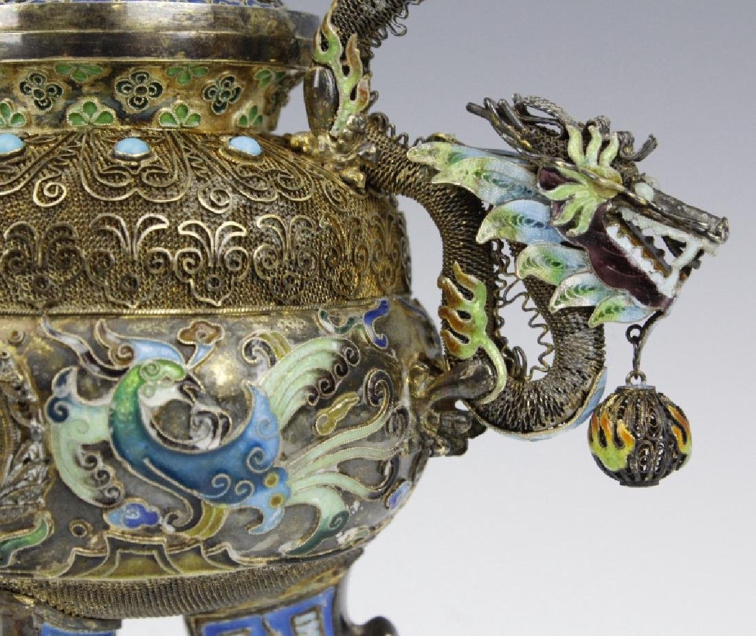 Chinese Silver Double Head Enameled Dragon Censor - 8