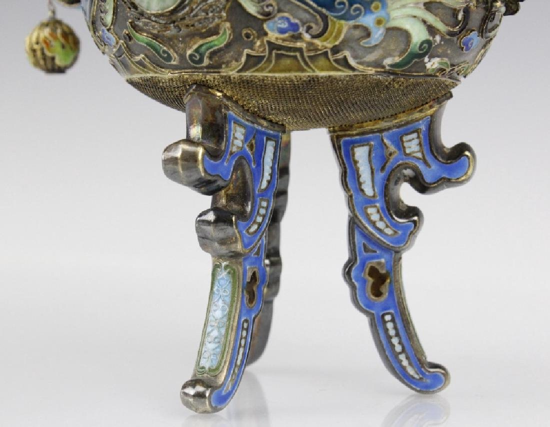 Chinese Silver Double Head Enameled Dragon Censor - 9