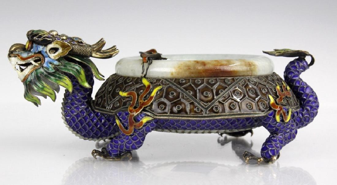 Chinese Enameled Dragon Celadon Jade Bangle Tray
