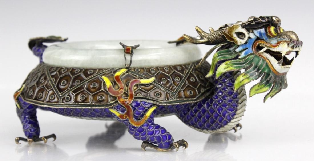 Chinese Enameled Dragon Celadon Jade Bangle Tray - 2