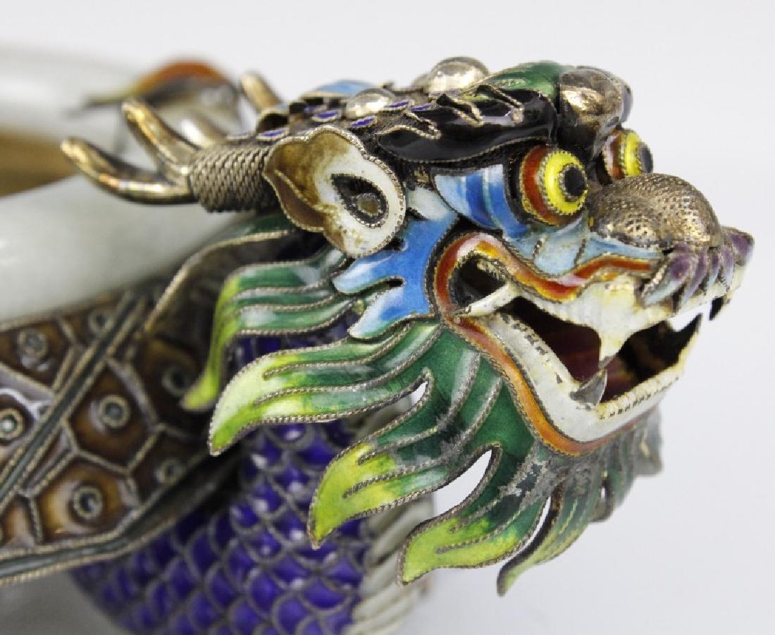 Chinese Enameled Dragon Celadon Jade Bangle Tray - 3