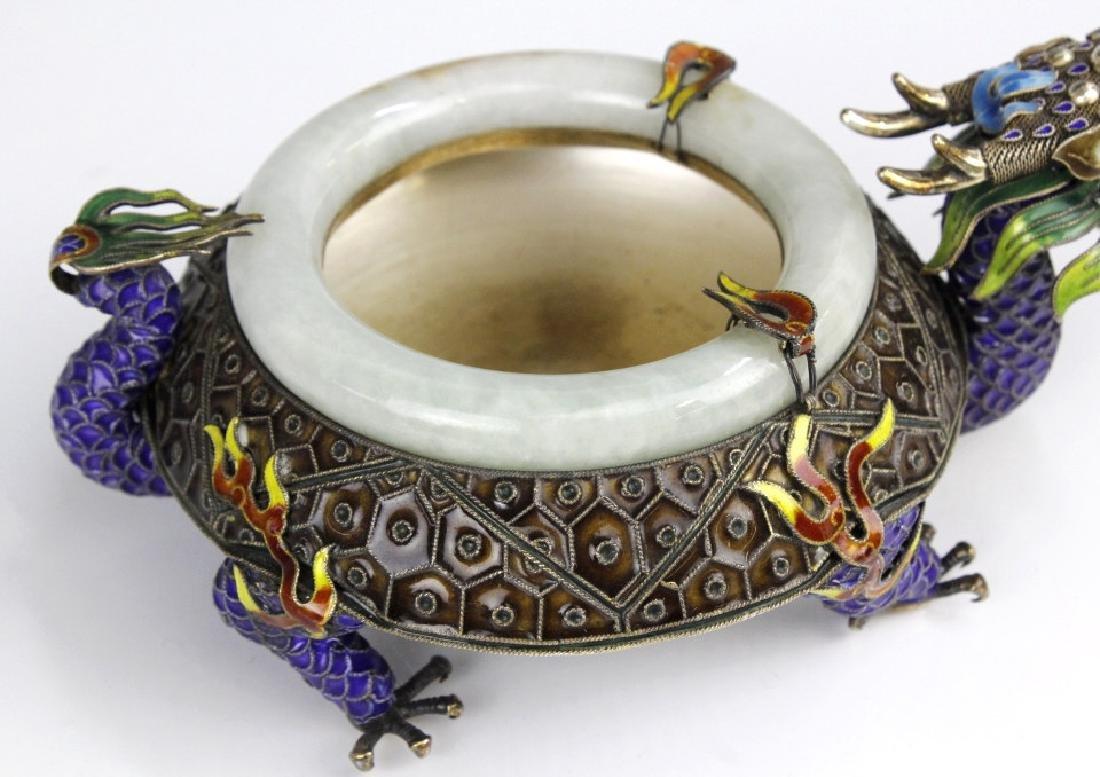 Chinese Enameled Dragon Celadon Jade Bangle Tray - 4