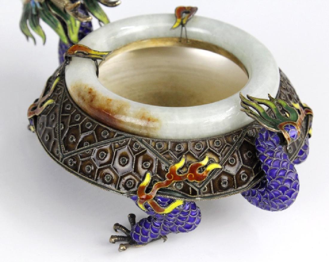 Chinese Enameled Dragon Celadon Jade Bangle Tray - 5
