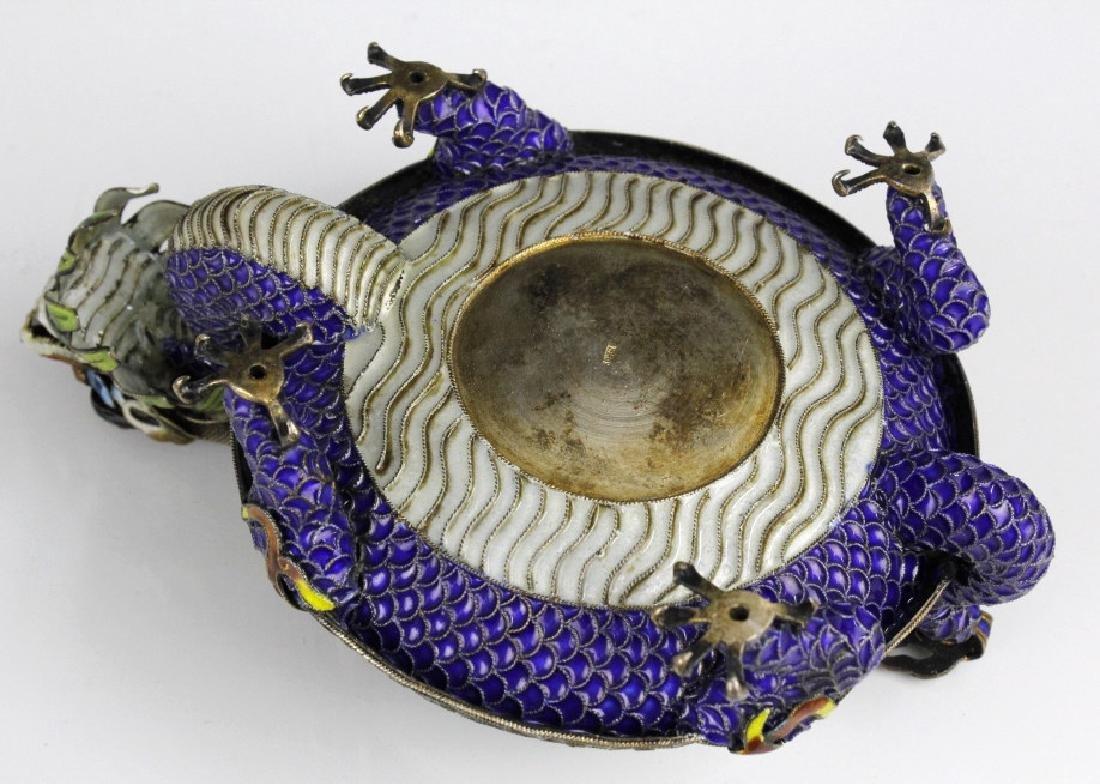 Chinese Enameled Dragon Celadon Jade Bangle Tray - 7