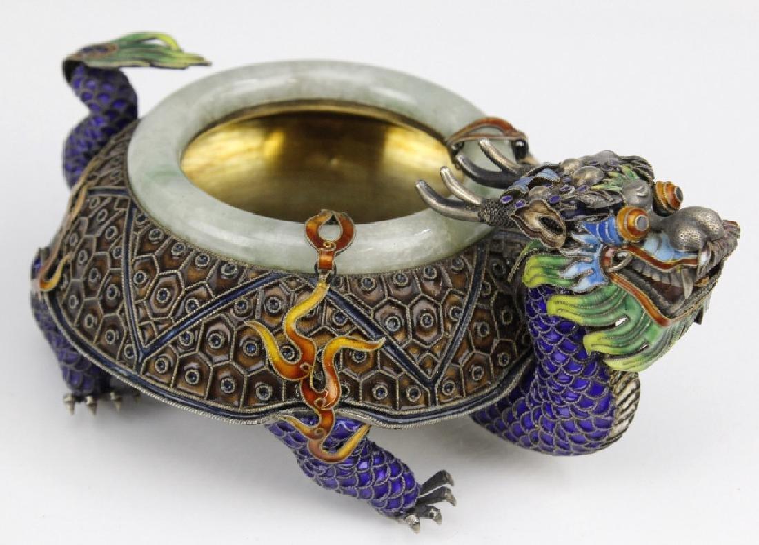 Enameled Dragon Form Celedon Jade Bangle Ashtray
