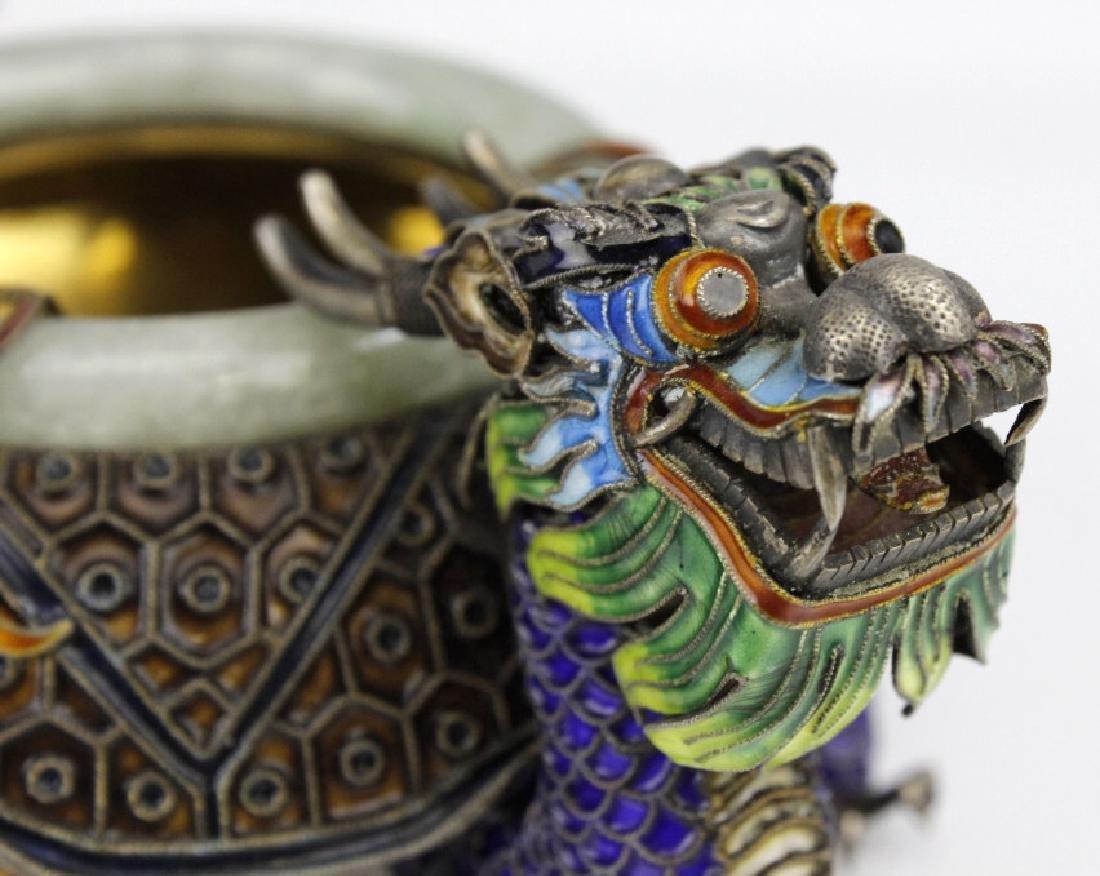 Enameled Dragon Form Celedon Jade Bangle Ashtray - 4