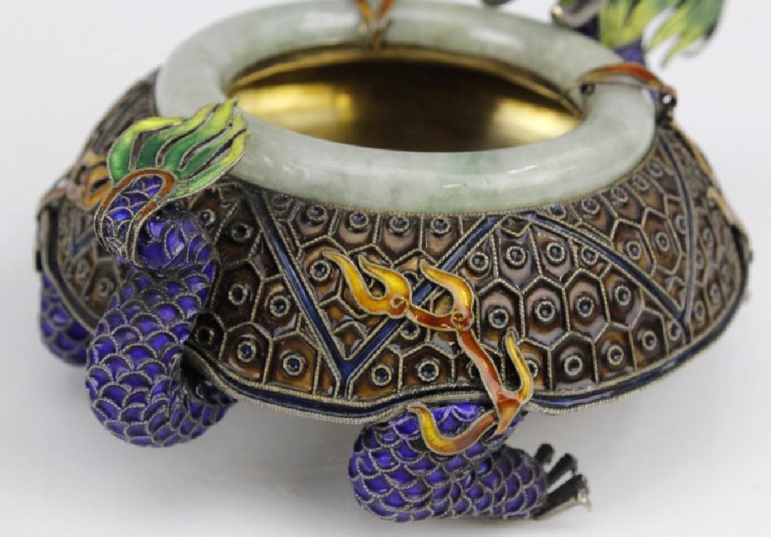 Enameled Dragon Form Celedon Jade Bangle Ashtray - 5