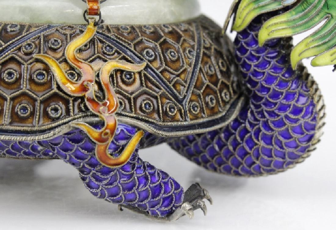 Enameled Dragon Form Celedon Jade Bangle Ashtray - 6