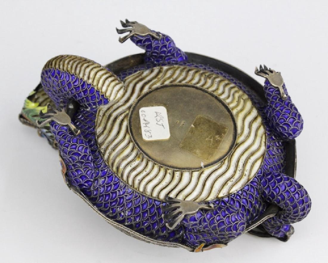 Enameled Dragon Form Celedon Jade Bangle Ashtray - 7