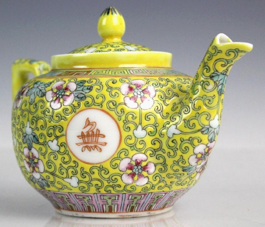 Pair Chinese Export Porcelain Famille Jaune Teapot - 3