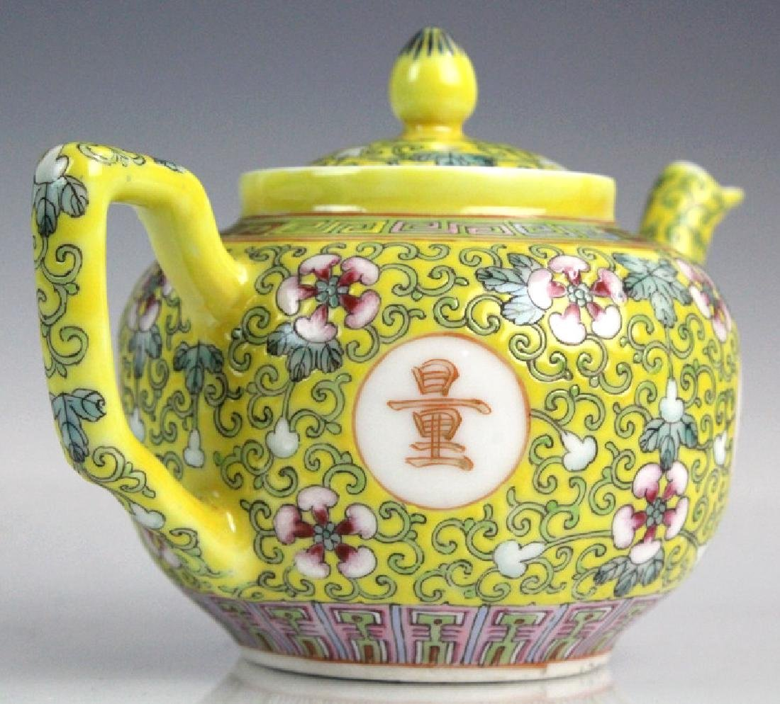 Pair Chinese Export Porcelain Famille Jaune Teapot - 4