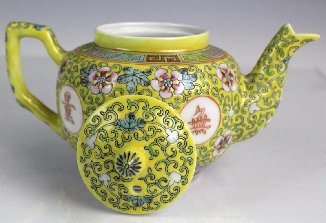 Pair Chinese Export Porcelain Famille Jaune Teapot - 5
