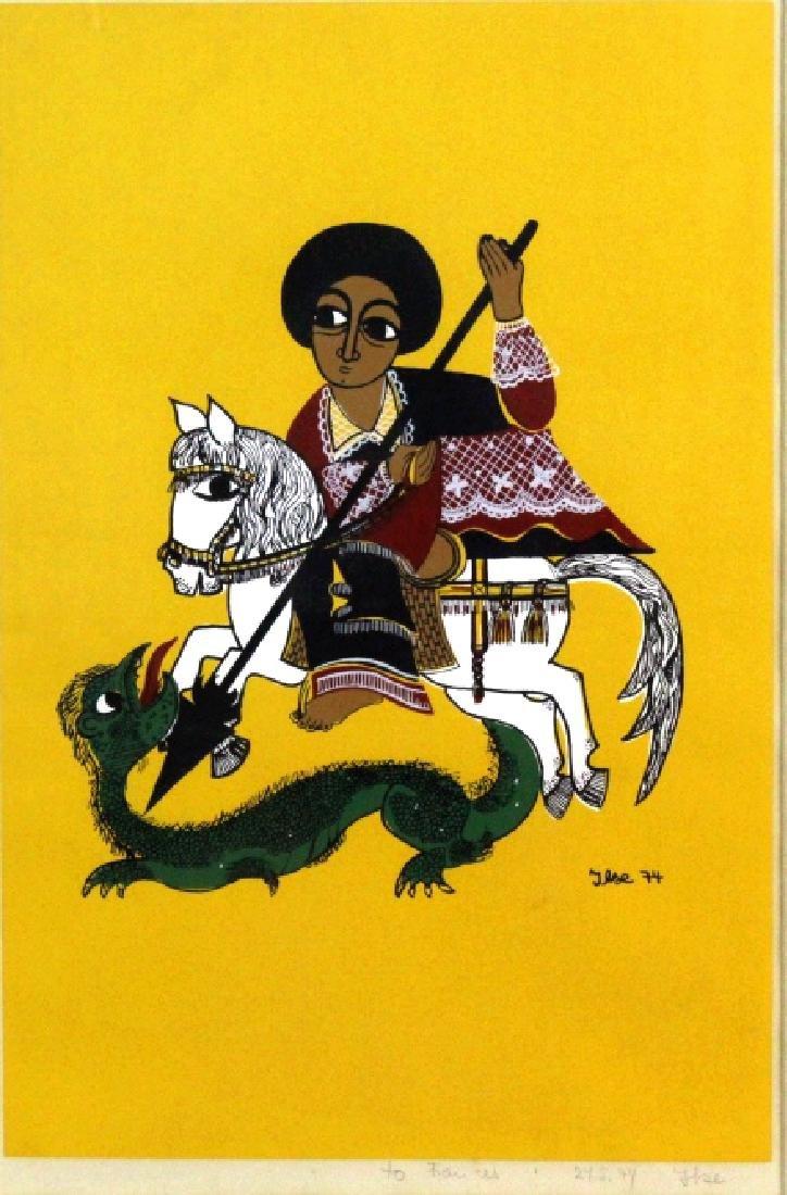 Ilse Hansen St. George Slaying Dragon Litho BASS MUSEUM
