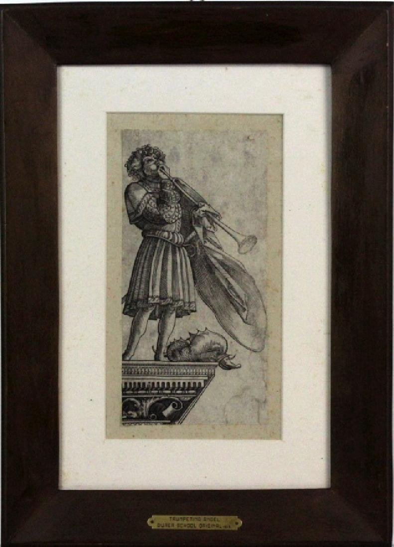 Albrecht Durer Trumpeting Angel Etching BASS MUSEUM - 2
