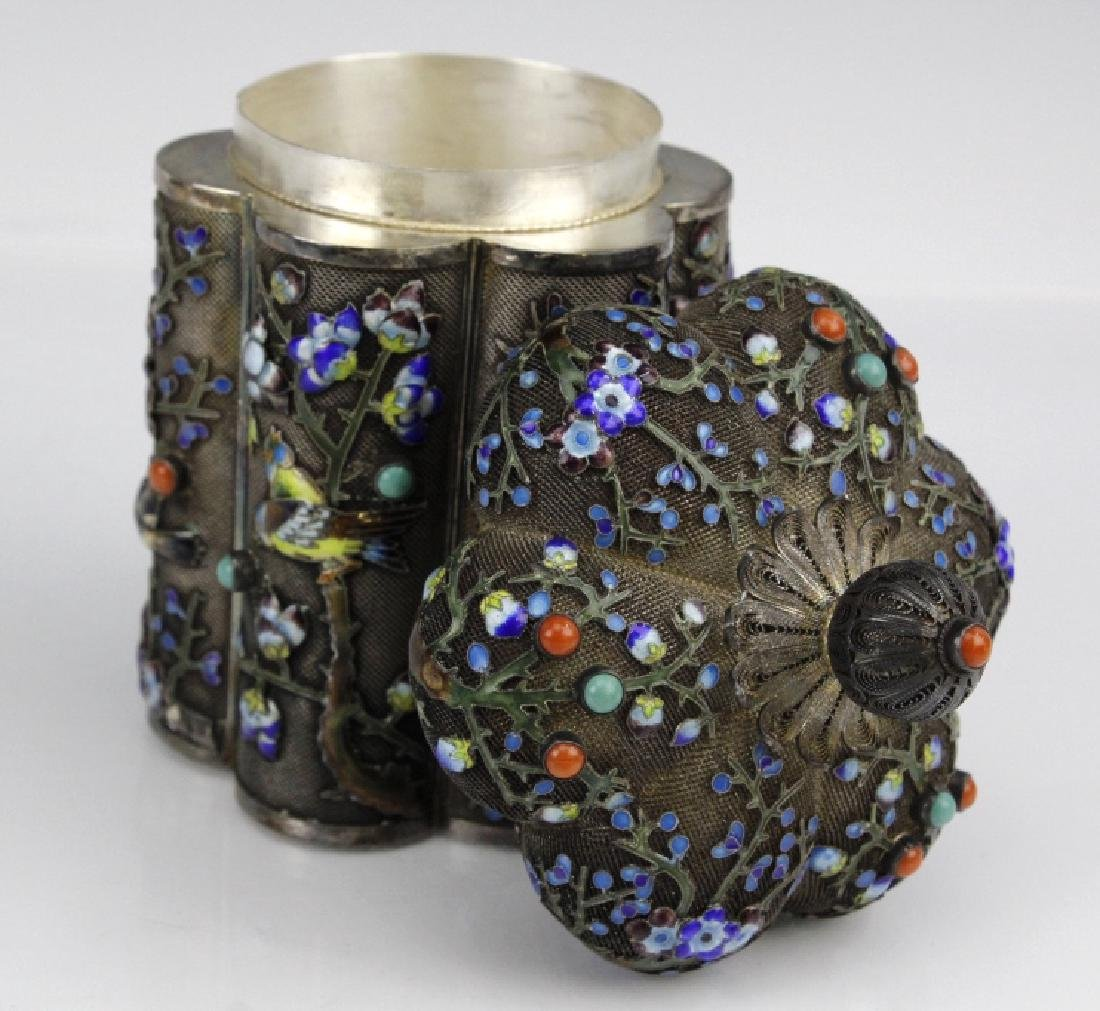 Chinese Export Silver Enamel Box with Inlaid Coral - 6